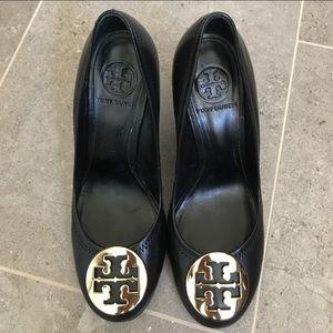 Tory Burch black wedge heels